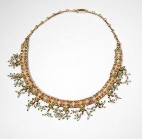An Indian Enamel, Pearl And Gemstone Necklace