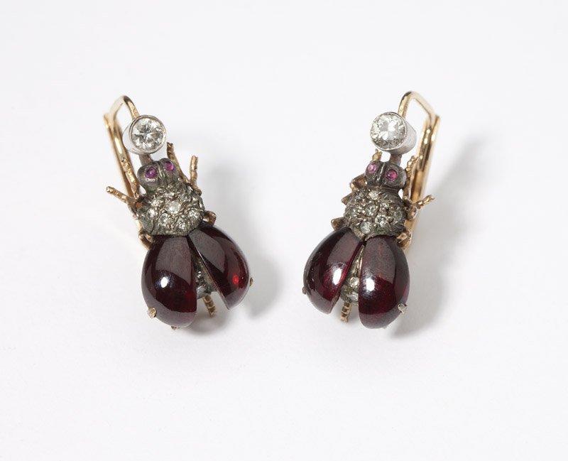 12: A pair of gemstone and diamond bee earrings