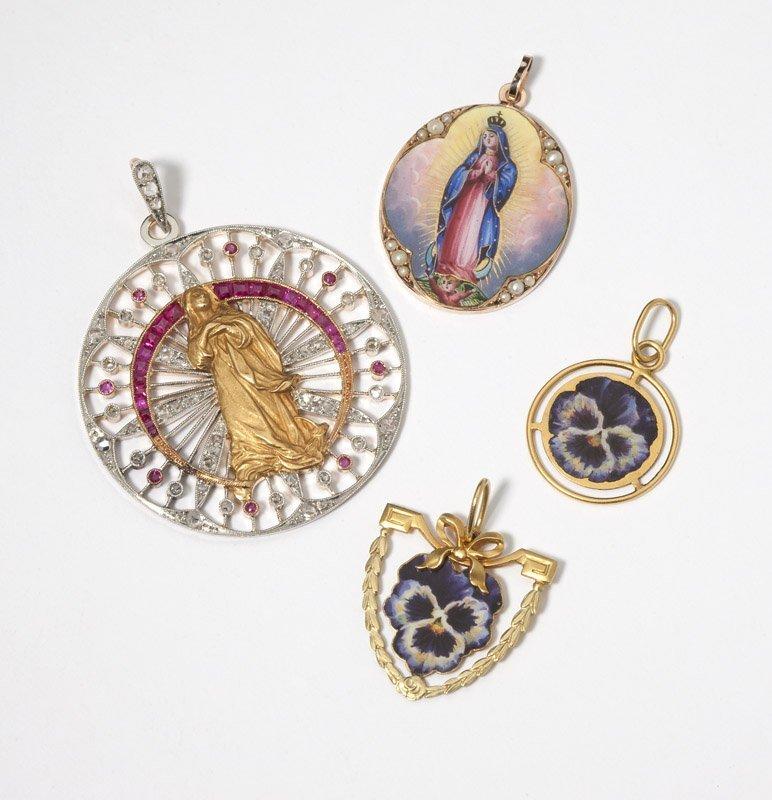 13: A group of gold, gem, diamond & enamel pendants