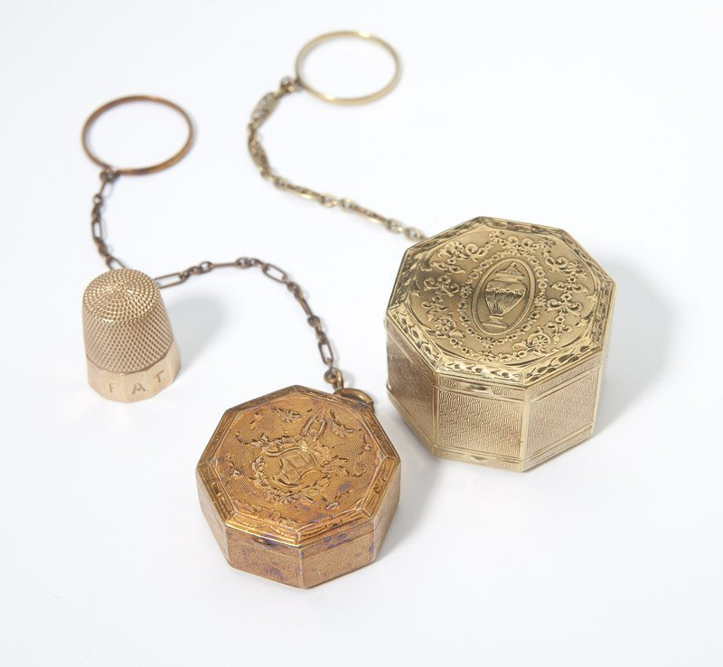 18: Two ring compacts and a thimble