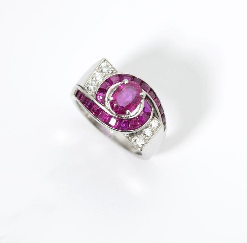 23: A retro ruby, diamond and platinum ring
