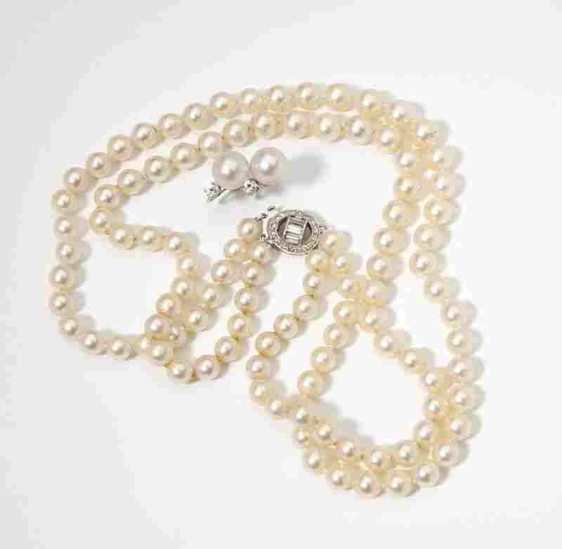 39: A group of cultured pearl & diamond jewelry