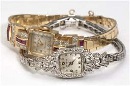 207 A collection of two gem diamond  gold watches