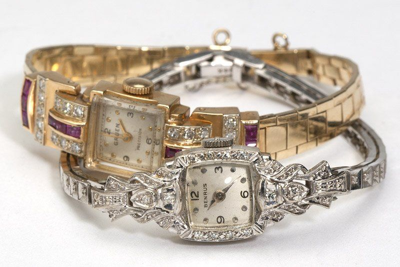 207: A collection of two gem, diamond & gold watches
