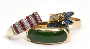 219: A collection of gem and gold rings