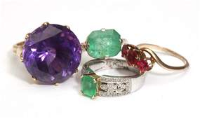 A collection of gem-set, gold and metal rings