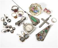 A collection of gold, silver and costume jewelry