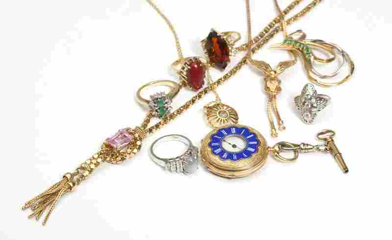251: A collection of diamond, gem and 18K gold jewelry