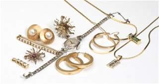 252 A group of gem diamond gold  costume jewelry