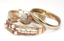 255 A collection of gem diamond and gold jewelry