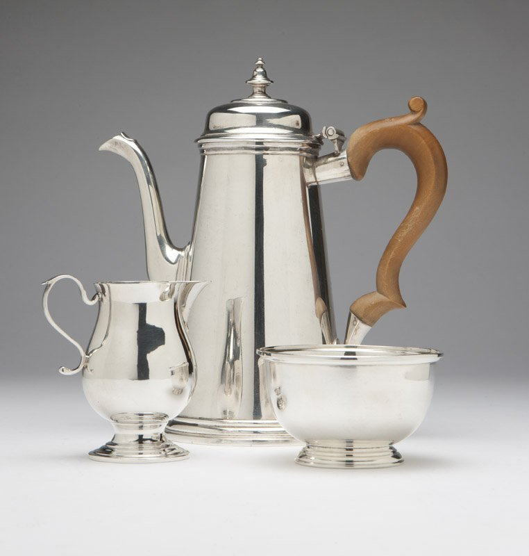 A .950 coffee pot and sterling jug & bowl, Ensko