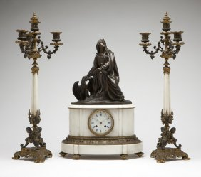 French patinated bronze & marble clock garniture