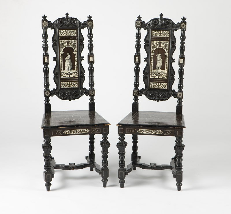 Two Milanese ebonized & inlaid side chairs