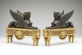 Pair Empire style gilt & patinated bronze chenets