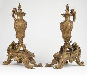 A pair Louis XV style gilt-bronze chenets