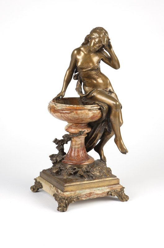 A bronze & marble figure nymph at fountain Moreau