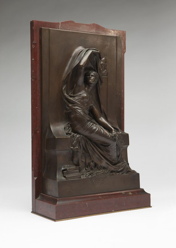 A patinated bronze, 'Memorial Plaque', H. Chapu