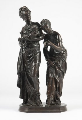 A Patinated Bronze Figural Group