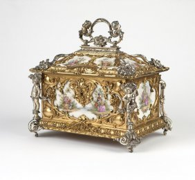 A silvered & gilt-bronze-mounted porcelain casket