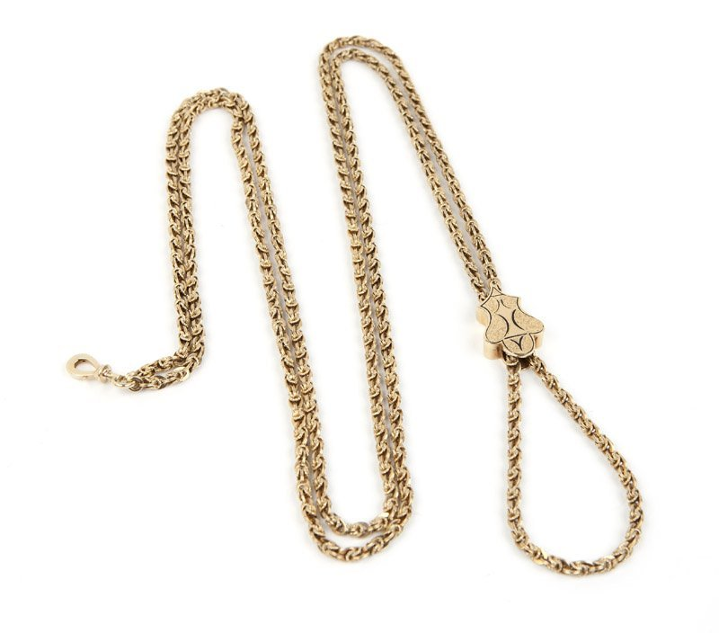A Victorian gold fancy link long chain