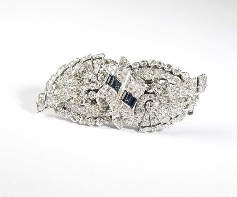 A sapphire and diamond double clip brooch