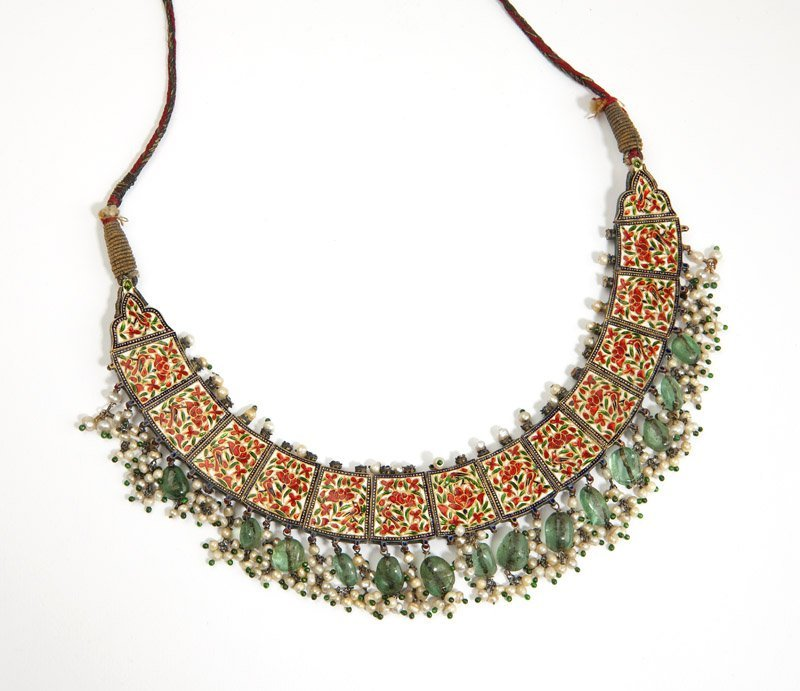 An Indian diamond, gemstone and enamel necklace