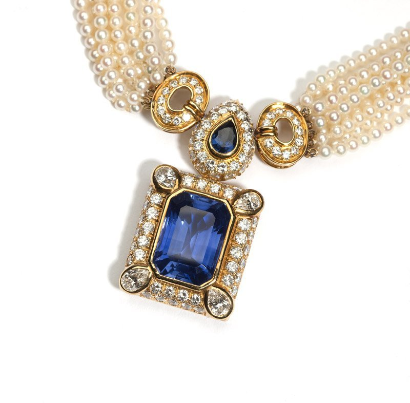 A sapphire and diamond necklace, Harry Winston