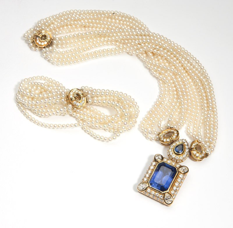 A sapphire and diamond necklace, Harry Winston - 3