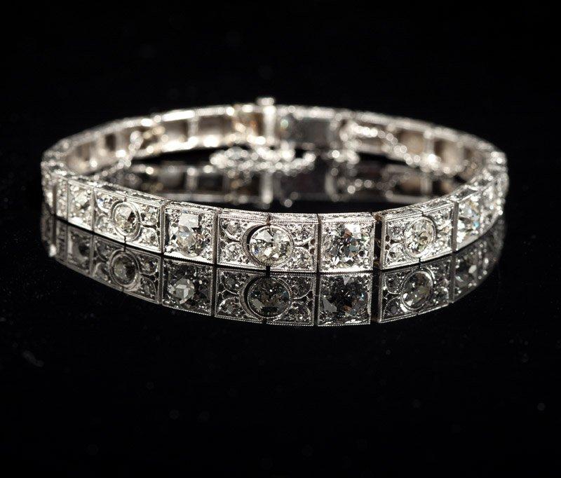 An Art Deco diamond and platinum line bracelet