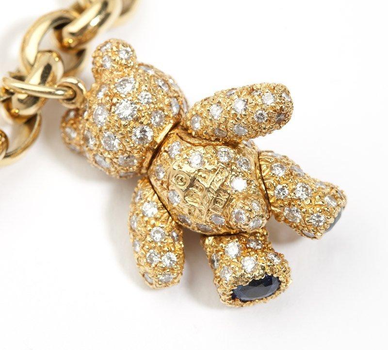 A diamond and gold teddy bear charm bracelet - 3