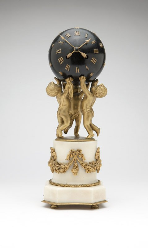 A Louis XVI style gilt bronze & white marble clock