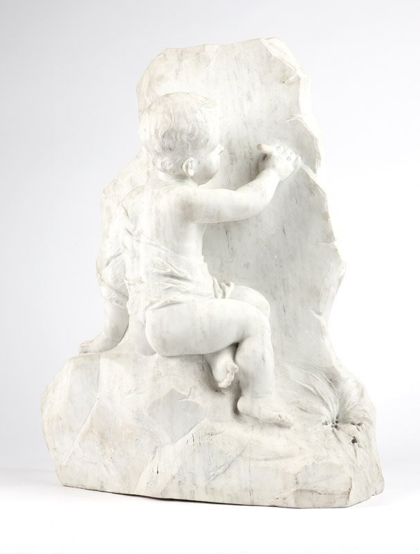 A carved white marble sculpture