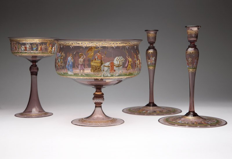 A group of Bohemian enameled cranberry glass