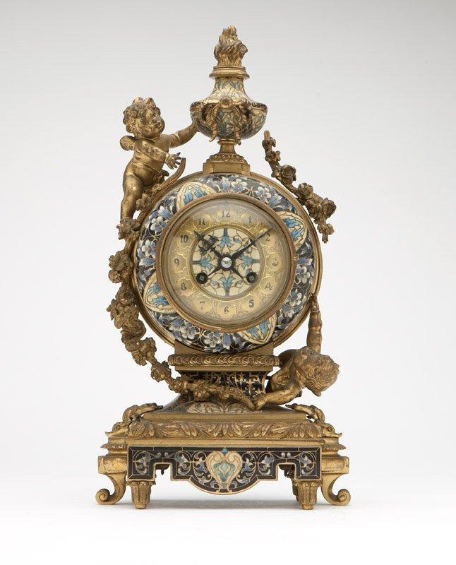 A Tiffany Paris gilt bronze & enamel mantel clock