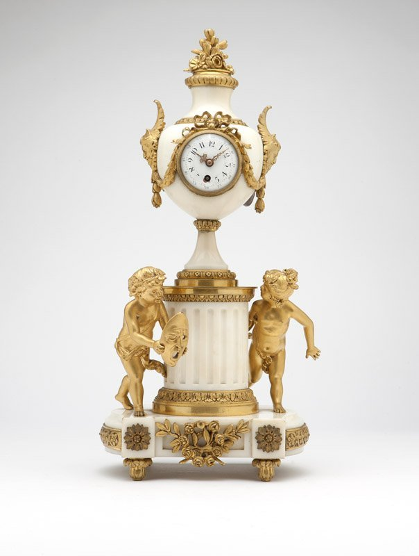 A French gilt-bronze & white marble clock