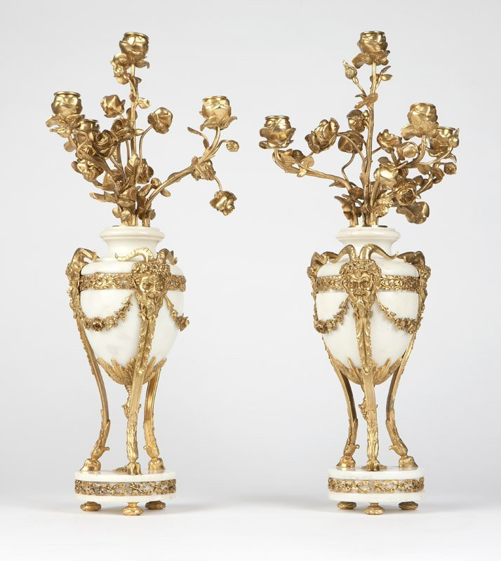 A pair of gilt-bronze & white marble candelabra