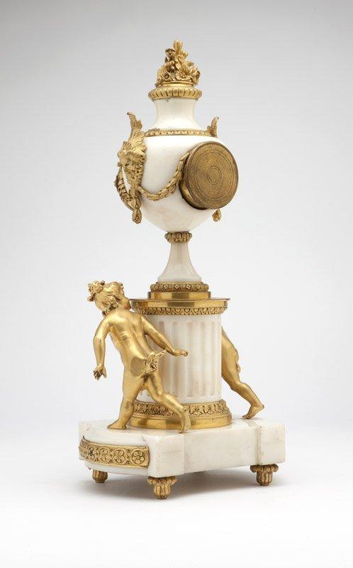 A pair of gilt-bronze & white marble candelabra - 4