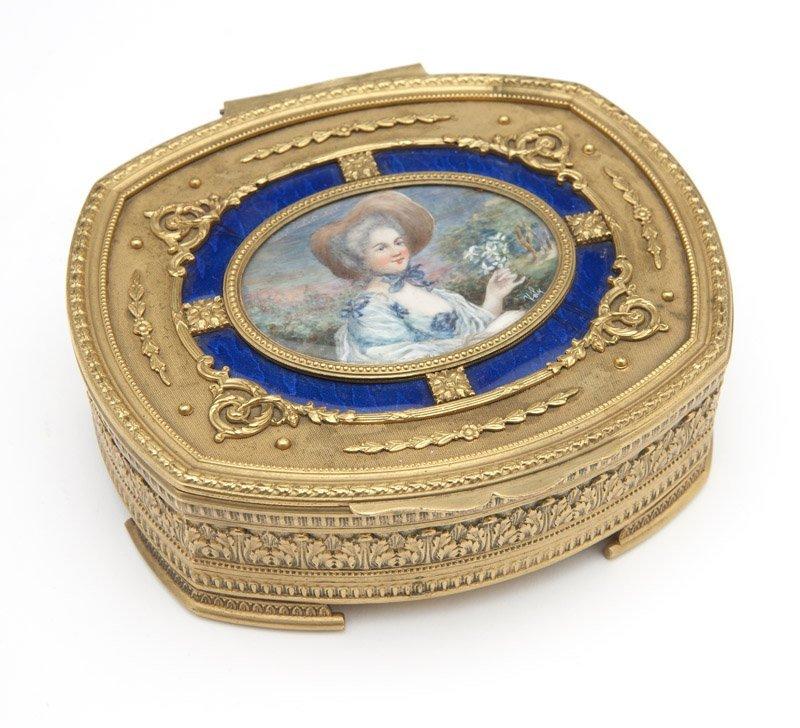 A gilt bronze jewelry box