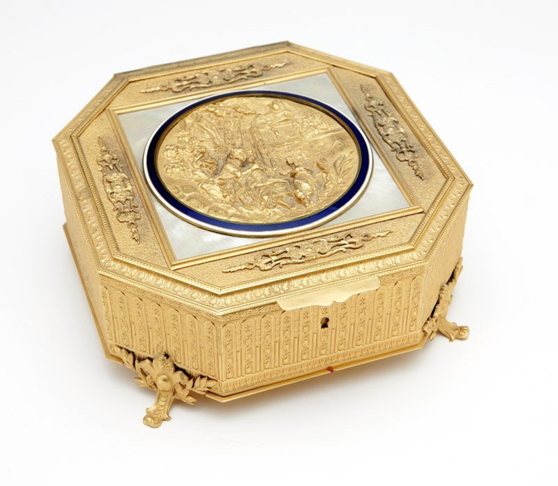 A French gilt bronze casket