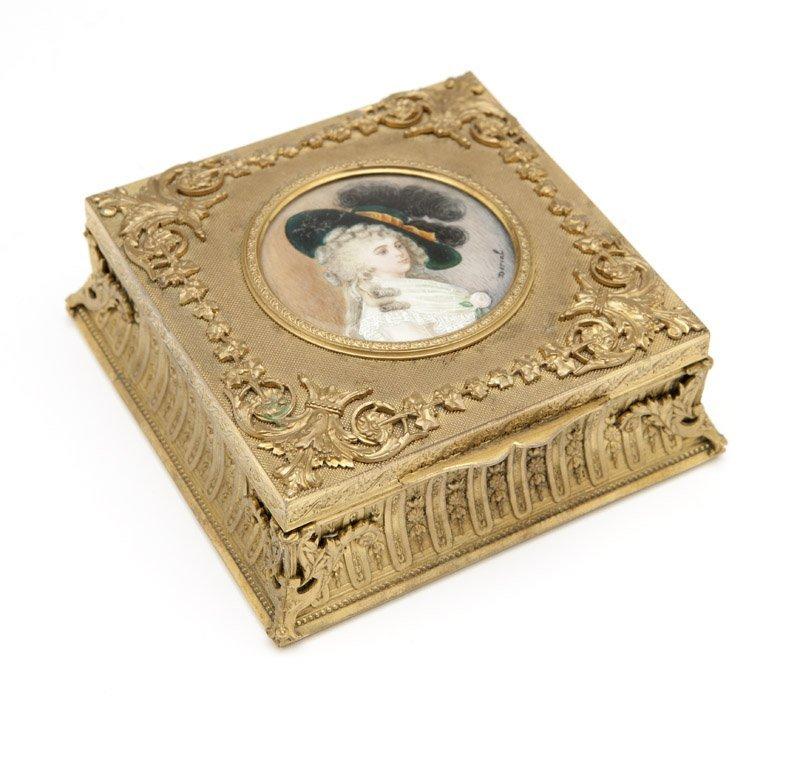 A Continental gilt bronze jewelry box