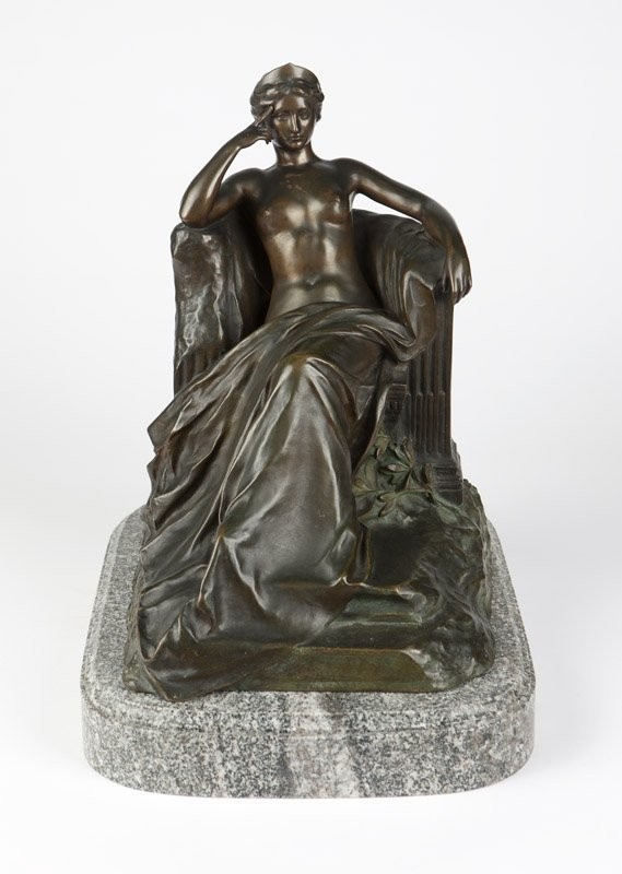 A Continental patinated bronze figure