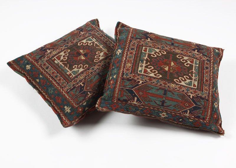 Two Shahsavan Soumac bag face pillows