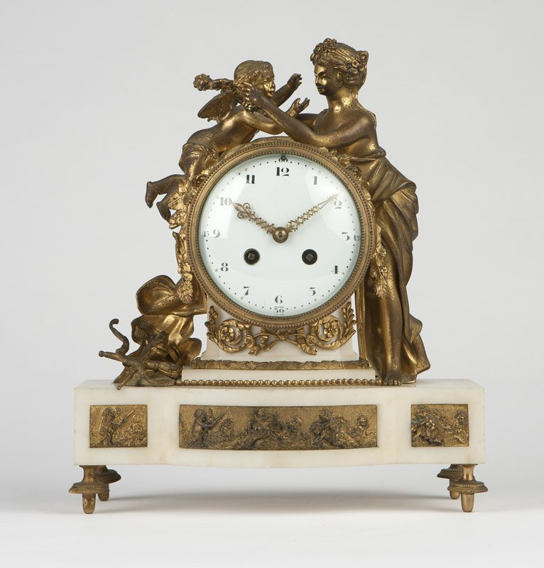 A French gilt bronze & marble mantle clock