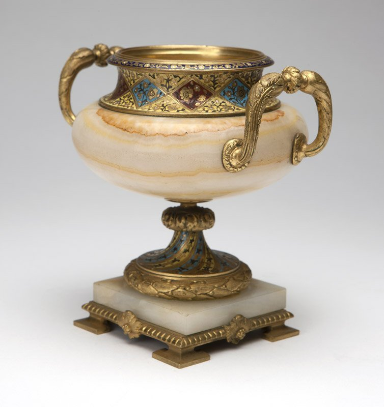 A French champleve enamel, gilt-bronze & marble urn