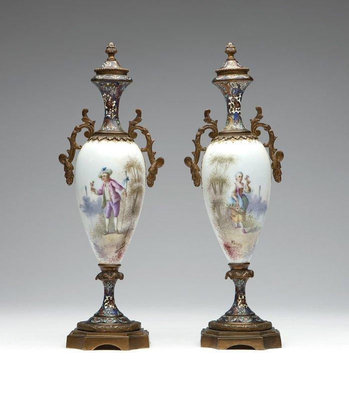 Pair gilt bronze-mounted champleve & porcelain vases