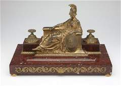 A Continental gilt bronze figural encrier