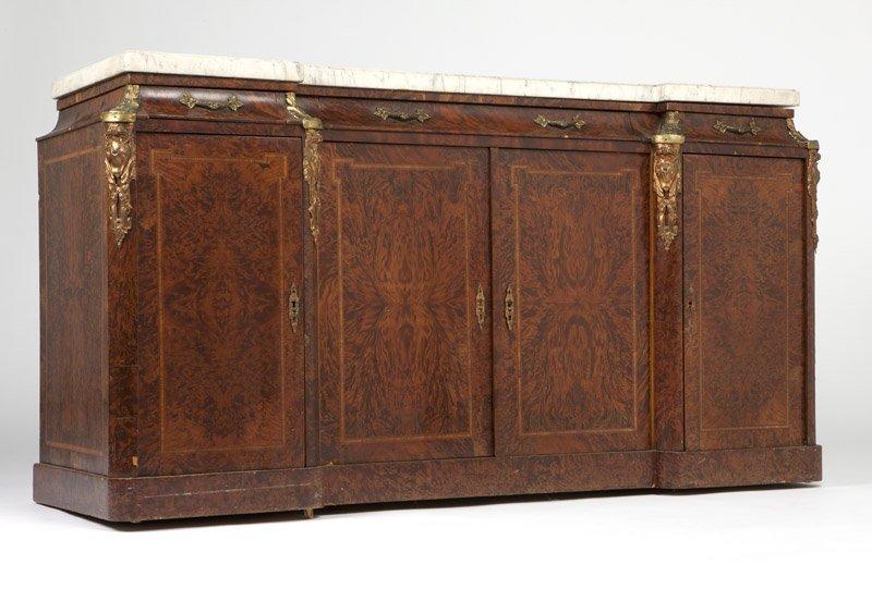 A Continental gilt bronze-mounted burl walnut sideboard