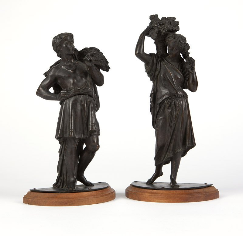 Two Continental patinated bronze figures