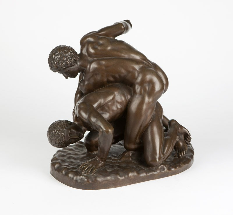 A patinated bronze sculpture ''The Wrestlers''