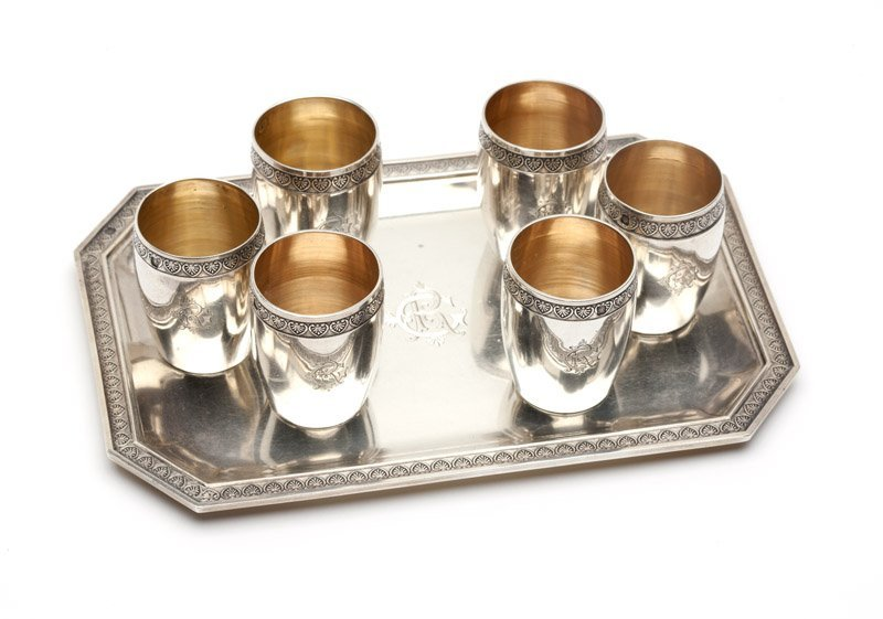 A French .950 silver tray & six shot glasses